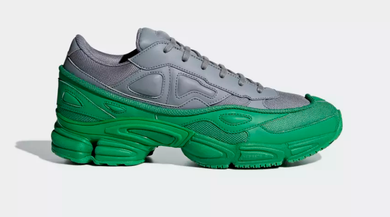 SIDE VIEW ADIDAS ORIGINALS RAF SIMONS OZWEEGO GREEN GREY