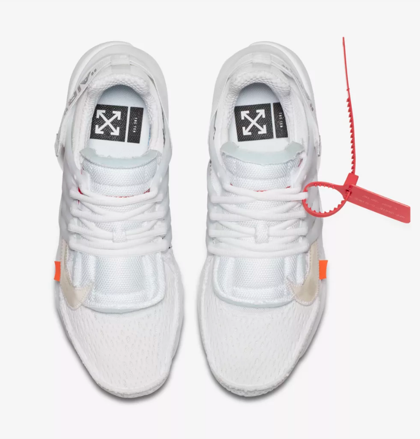 overhead NIKE AIR PRESTO X OFF WHITE 'THE TEN' WHITE CONE