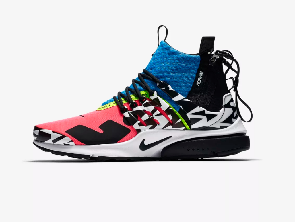 SIDE VIEW NIKE AIR PRESTO MID X ACRONYM 'RACER PINK / PHOTO BLUE'