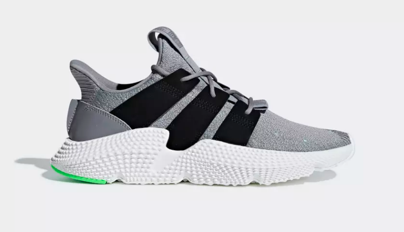 SIDE VIEW ADIDAS ORIGINALS PROPHERE GREY THREE SHOCK LIME