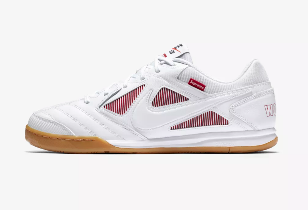 SIDE VIEW NIKE X SUPREME SB GATO QS 'WHITE / GYM RED'