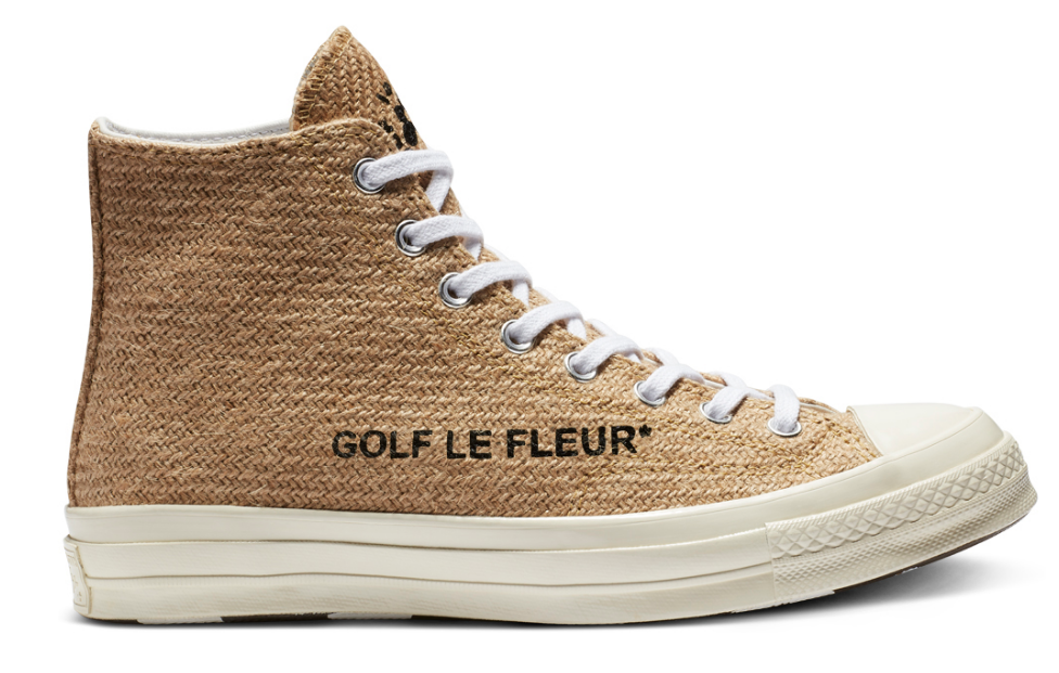 SIDE VIEW CONVERSE X GOLF LE FLUER CHUCK 70 HIGH CURRY EGRET