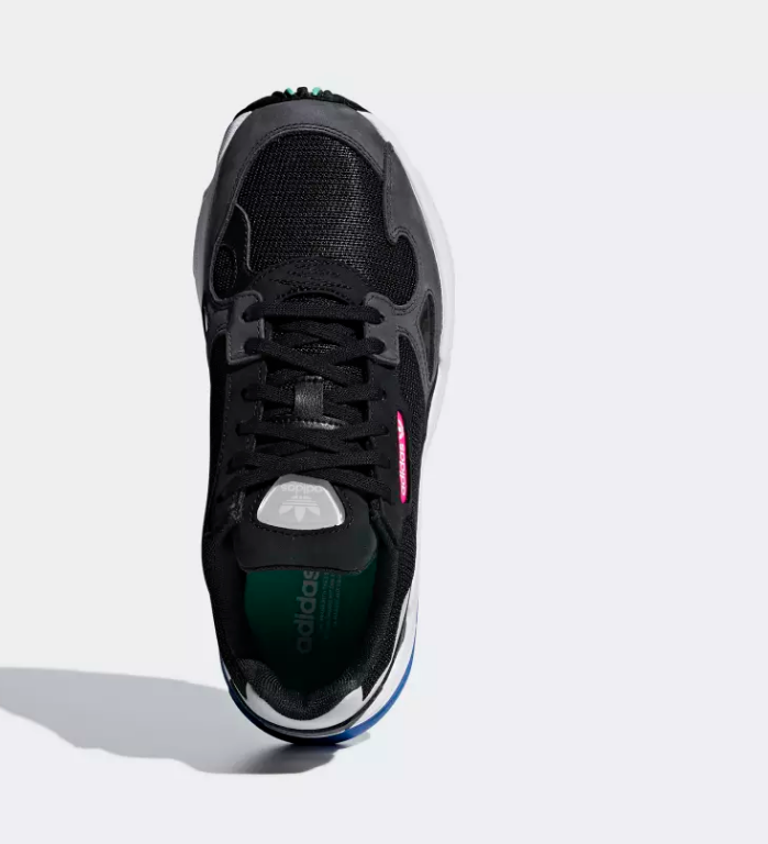 top view black adidas falcon