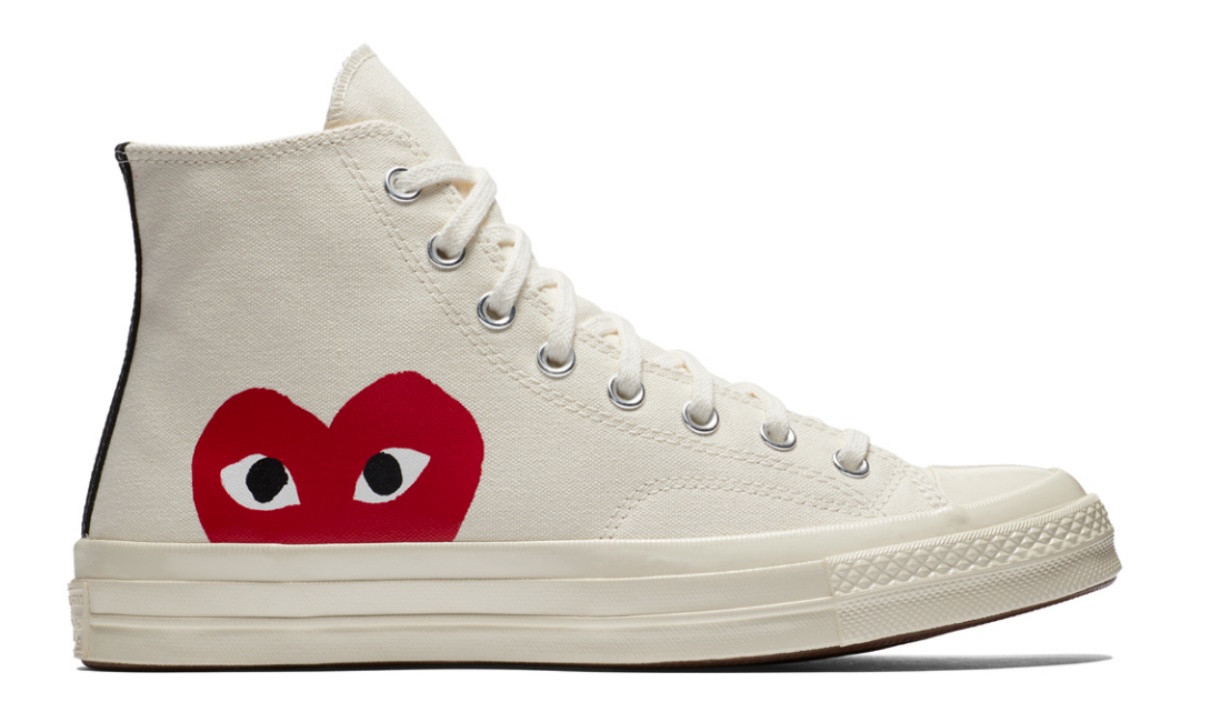 SIDE VIEW CONVERSE X COMMES DES GARCONS PLAY 70'S CHUCK MILK