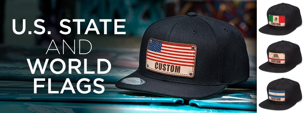 black snapback hats with different U.S. State and World Flag patches on men's hats