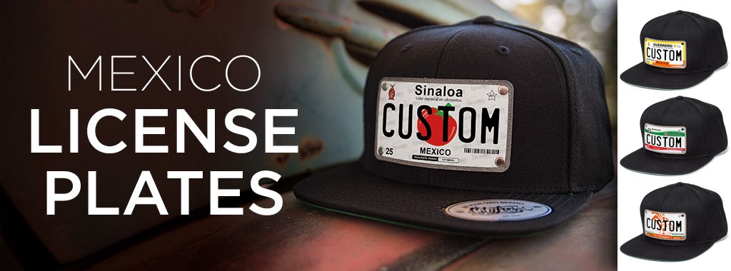 4 black custom design hats with mexico license plates