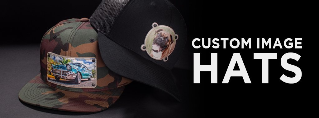 4 black custom design hats ideal for photos, logos and images