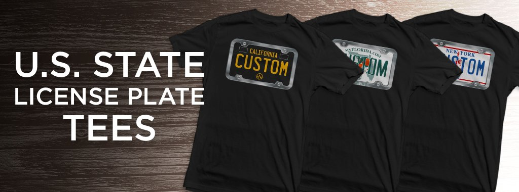 3 black custom made t shirts with U.S. State License plates