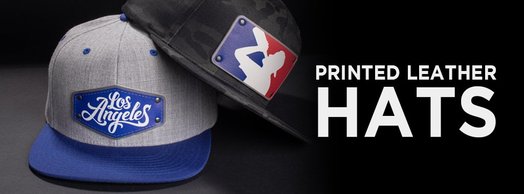 printed leather patches used on custom baseball hats