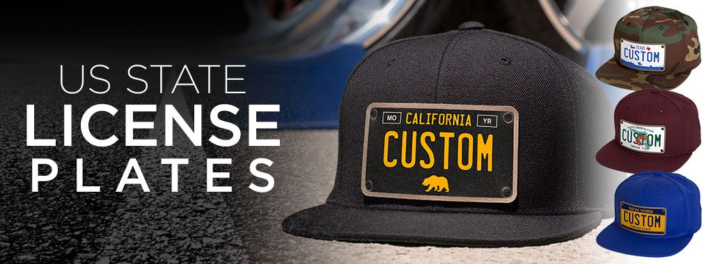 Custom men's trucker hats with United States license plates on black hats