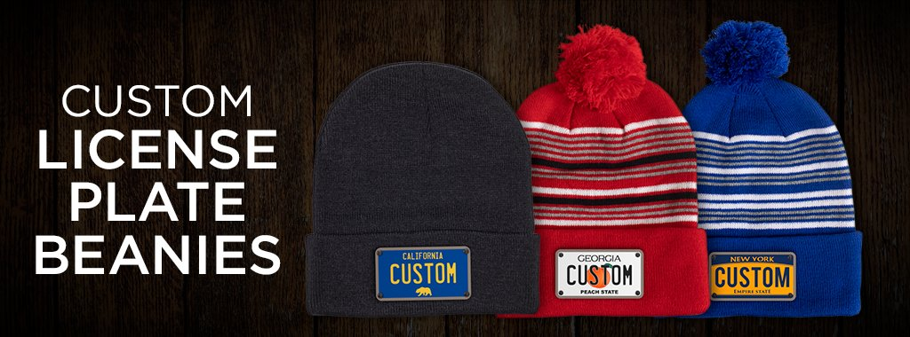 3 different men's hats beanies with different license plates  available to customize