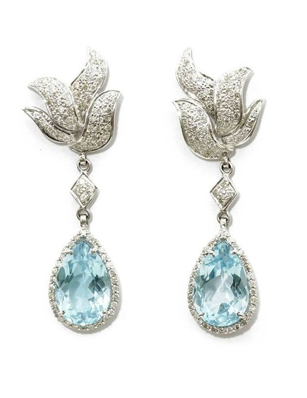 White Gold Plated Blue Topaz Dangling Earrings, Shahana by Gopika Kapoor