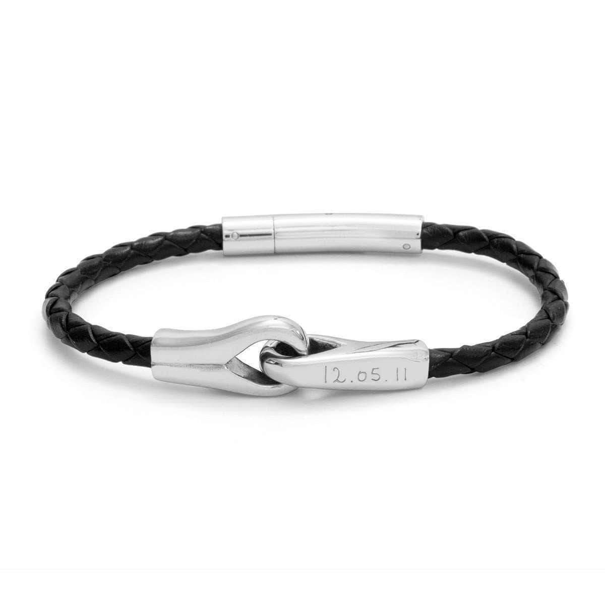 Personalised Leather Braid and Silver Knot Bracelet