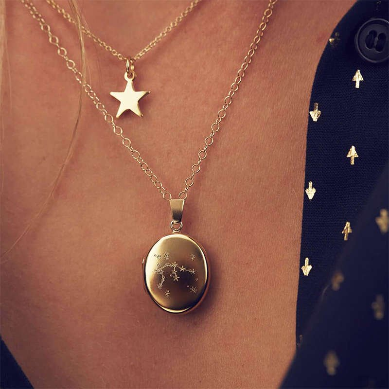 Personalised Zodiac Constellation Locket Necklace Rose Gold Plated, Posh Totty Designs