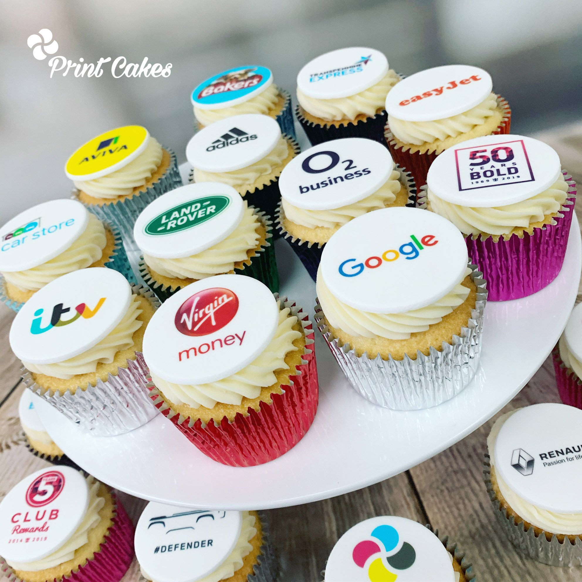 corporate cupcakes with printed logo