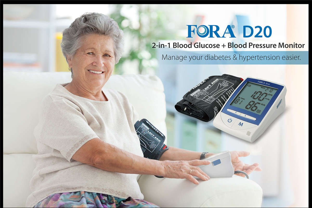 FORA D20 2-in-1 Blood Glucose & Blood Pressure monitor