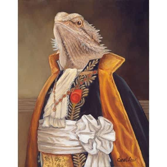 bearded-dragon-costume-art-oil-painting