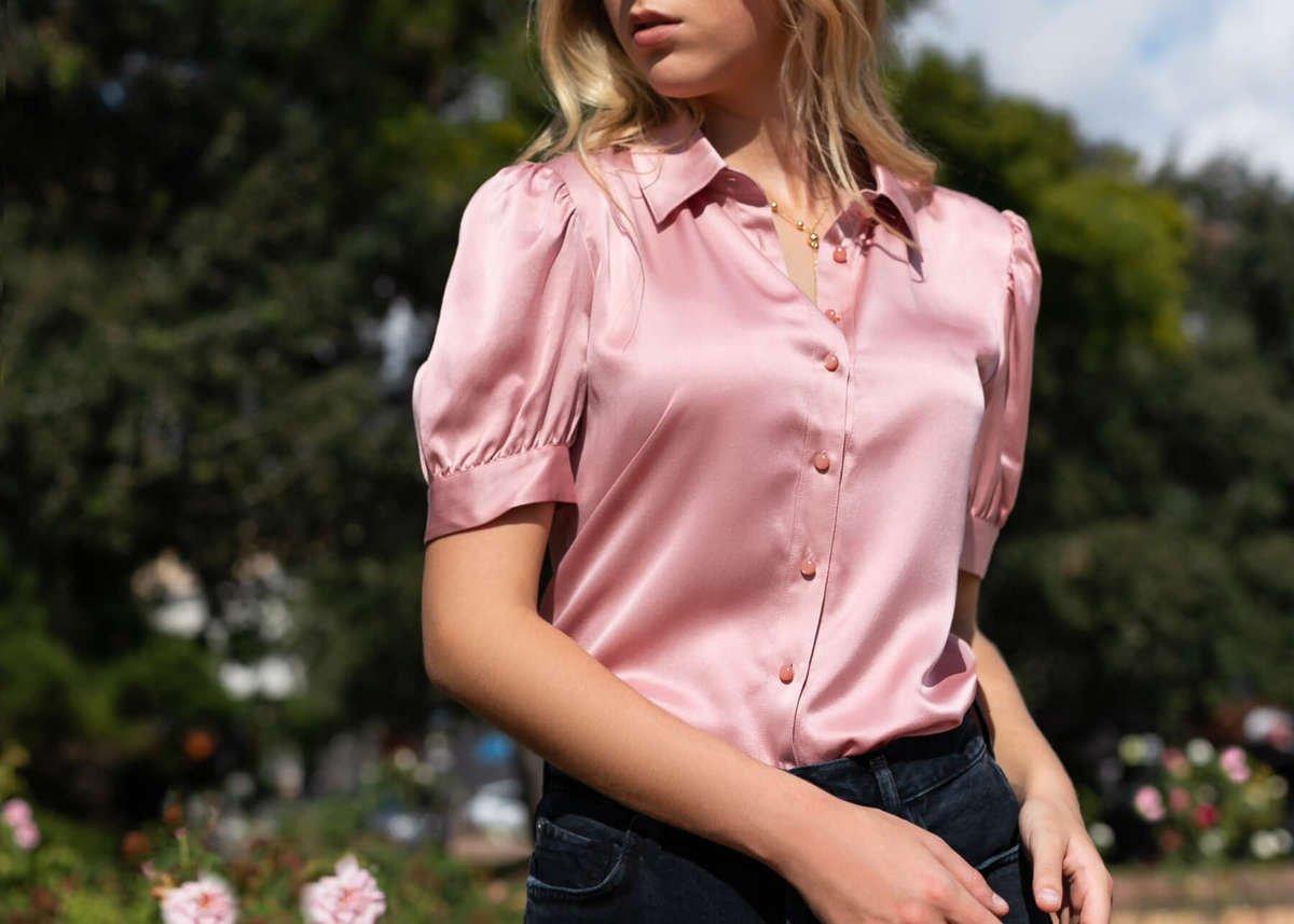 Juliet Silk Blouse - Peony Pink
