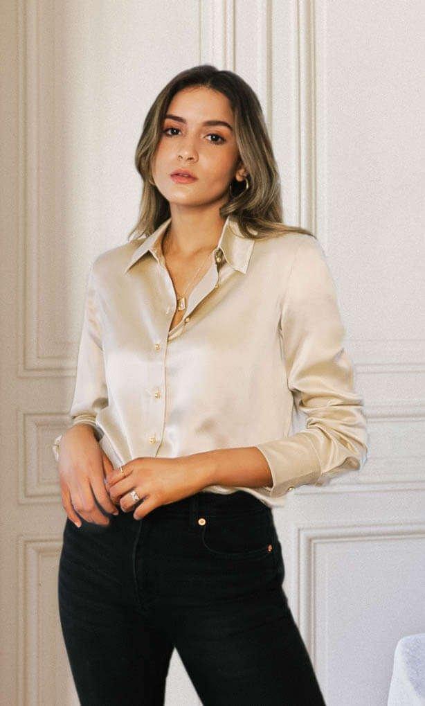 Milano Silk Blouse - Prosecco Gold