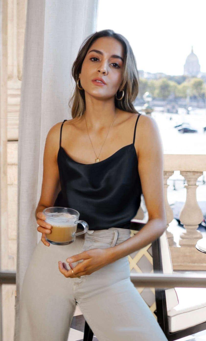 Capri Silk Cami - Caviar Black