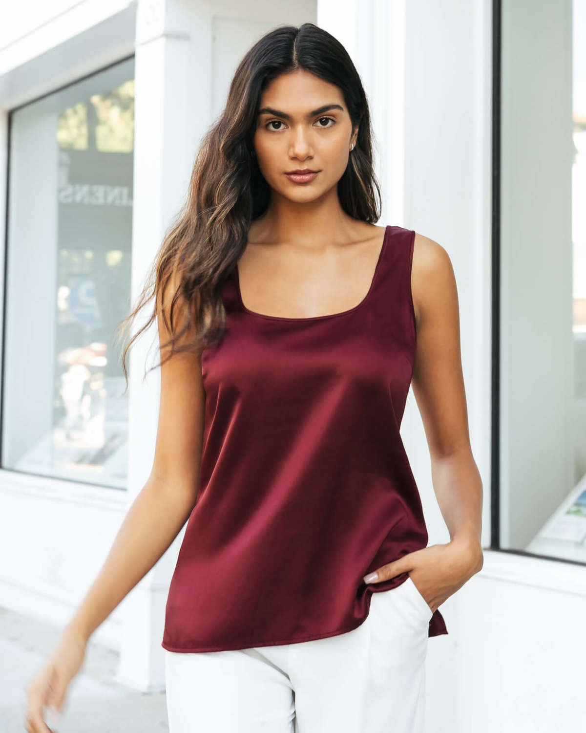 Fiora Silk Tank - Burgundy Red