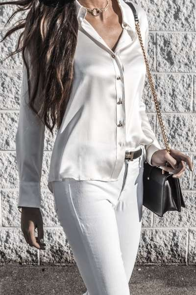 Milano Silk Blouse - Pearl White - In the Wild