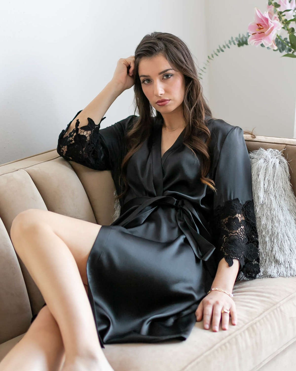 Chantella Silk Robe with Lace - Caviar Black
