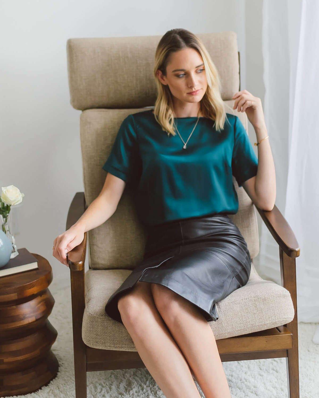 Emilia Silk Blouse - Emerald Green