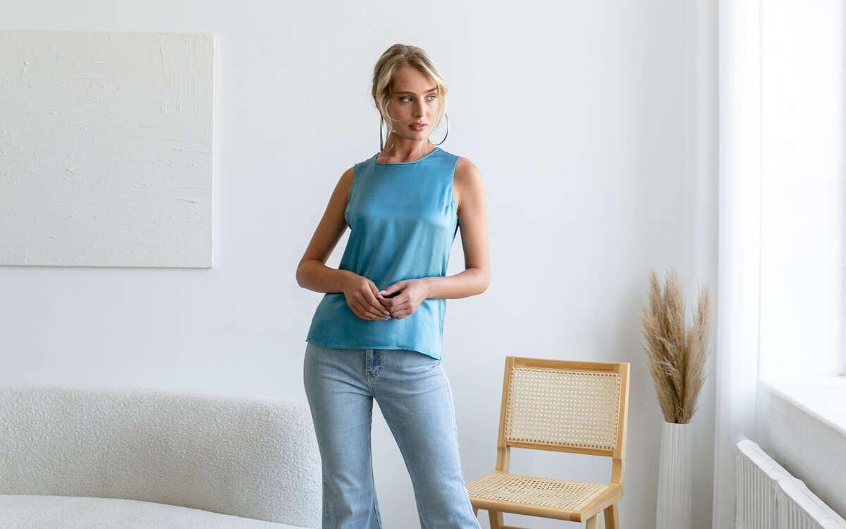 Emilia Silk Blouse - Riviera Blue