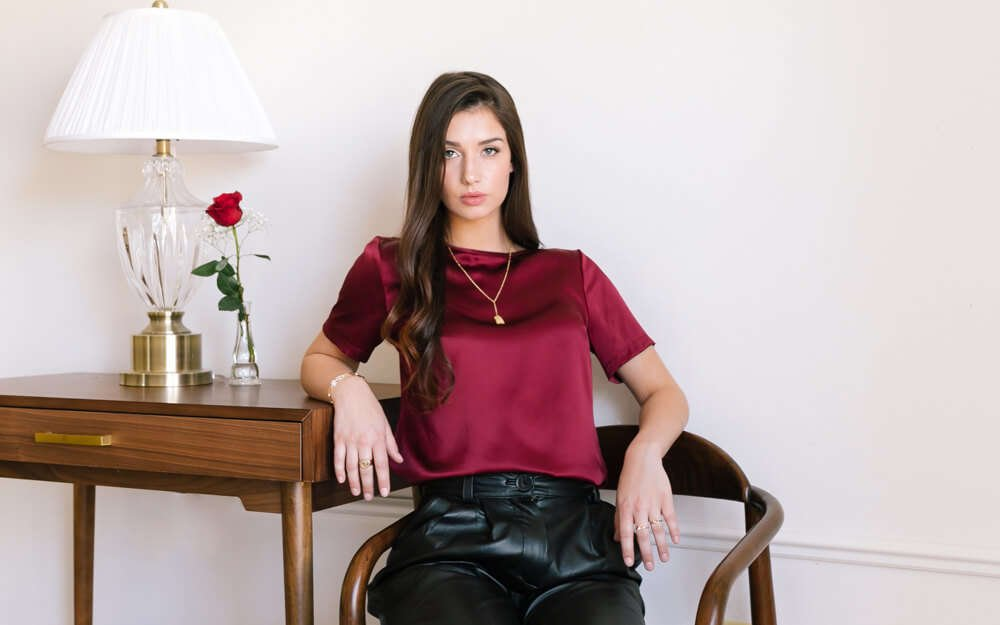 Emilia Silk Blouse - Burgundy Red