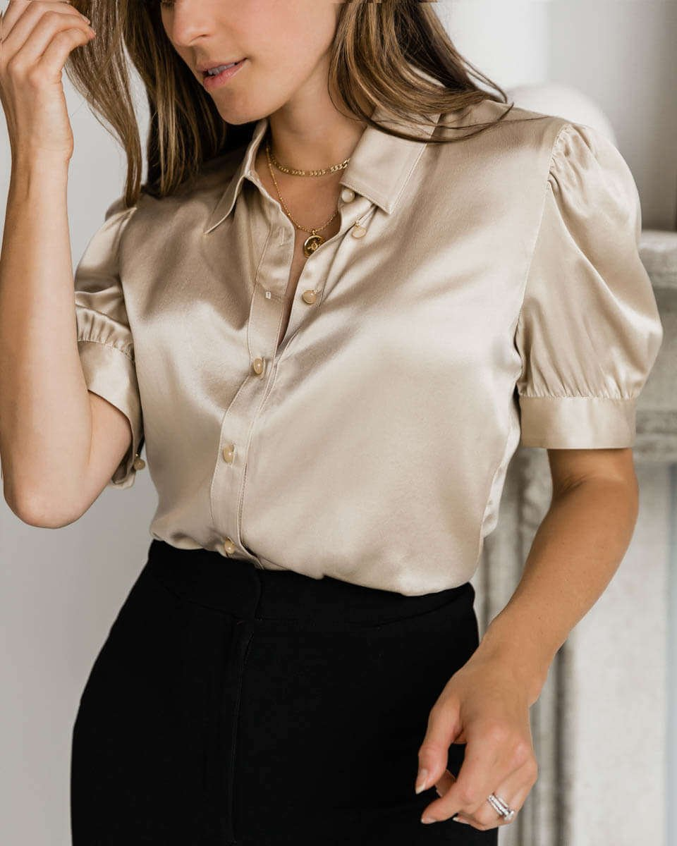 Juliet Silk Blouse - Prosecco Gold