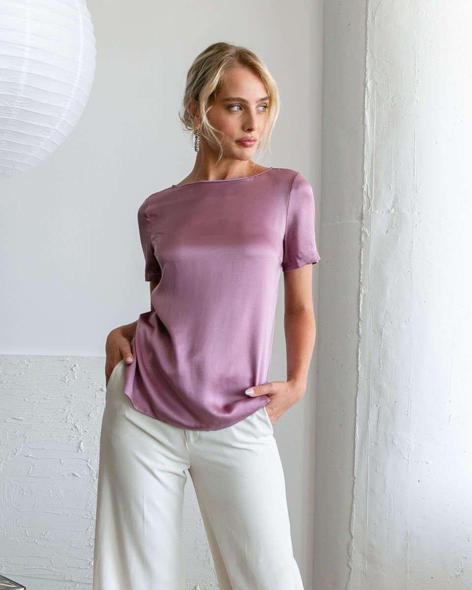 Emilia Silk Blouse - Mauve Rose