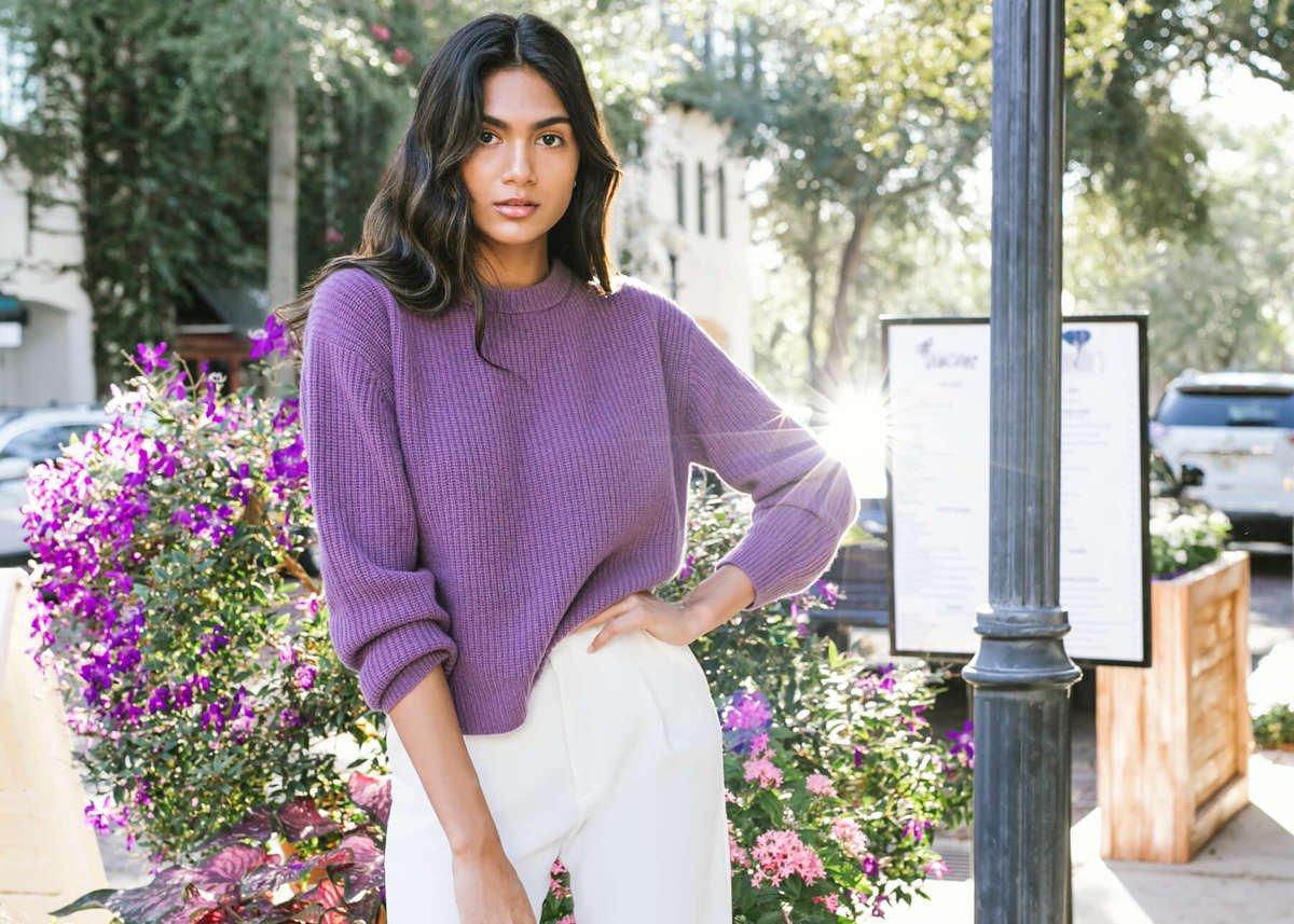 Lombardia Cashmere Fisherman Sweater - Aubergine Purple
