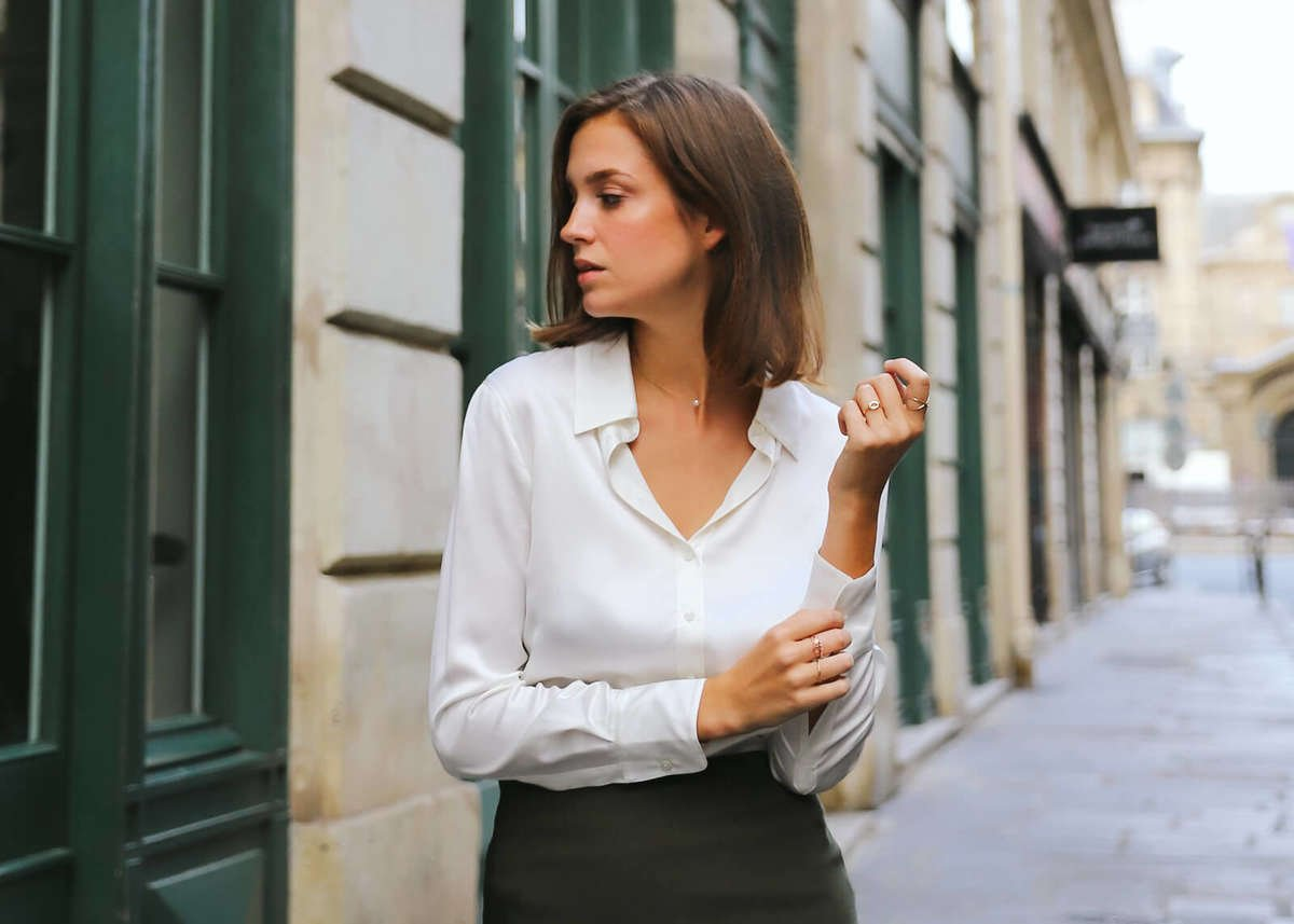 Milano Silk Blouse - Pearl White