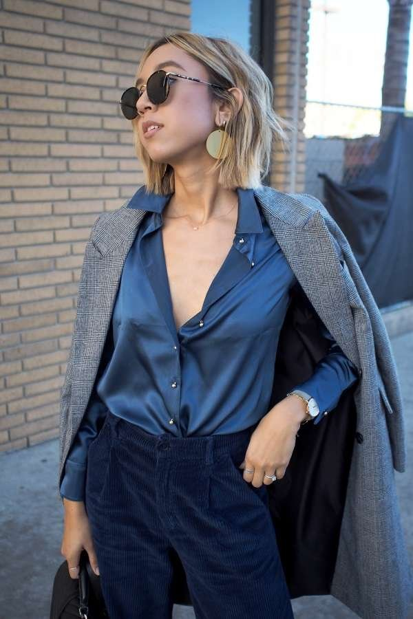 Milano Silk Blouse - Midnight Navy - In the Wild