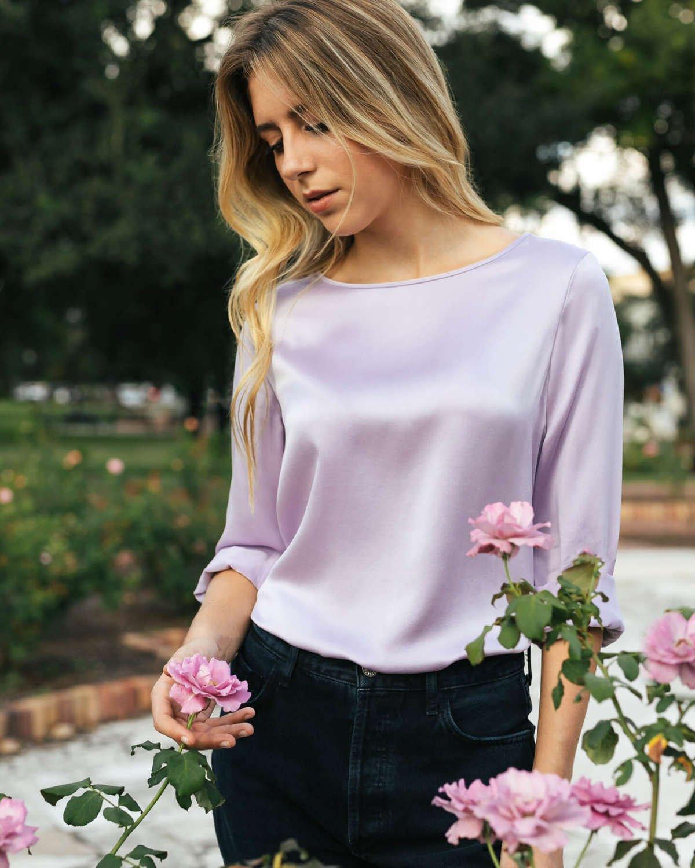 Lorraine Silk Blouse - Lavender Lilac