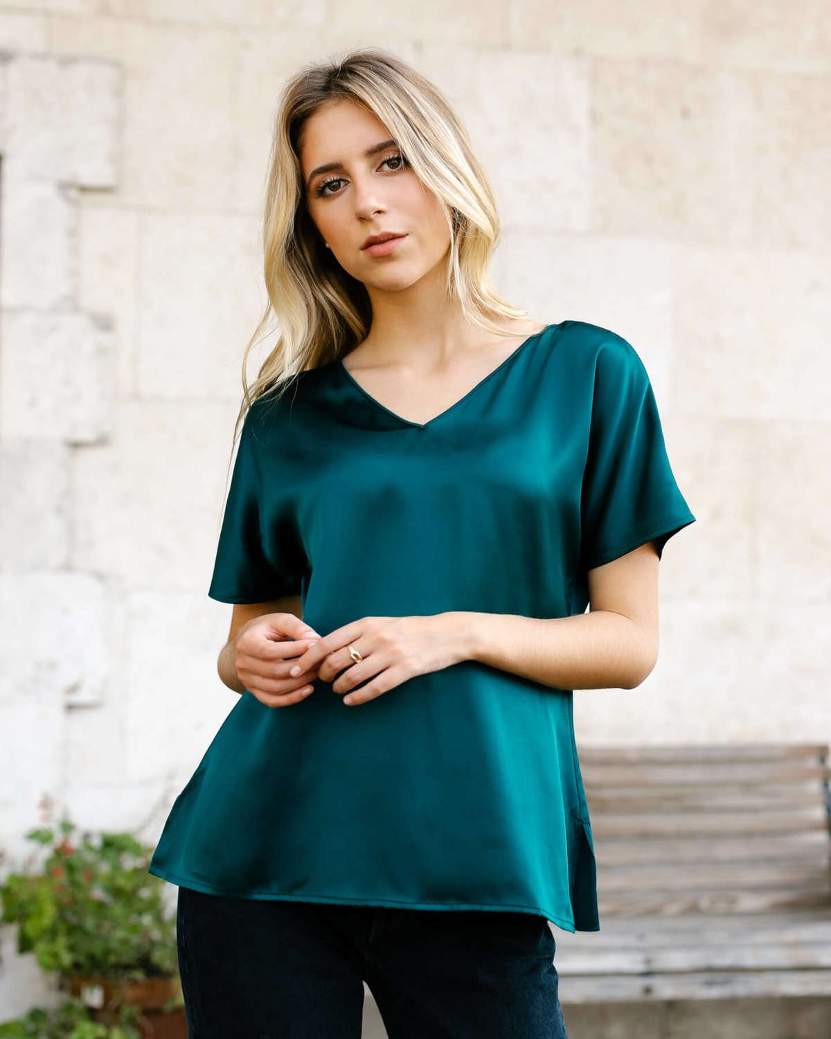 Verona Silk Blouse - Emerald Green