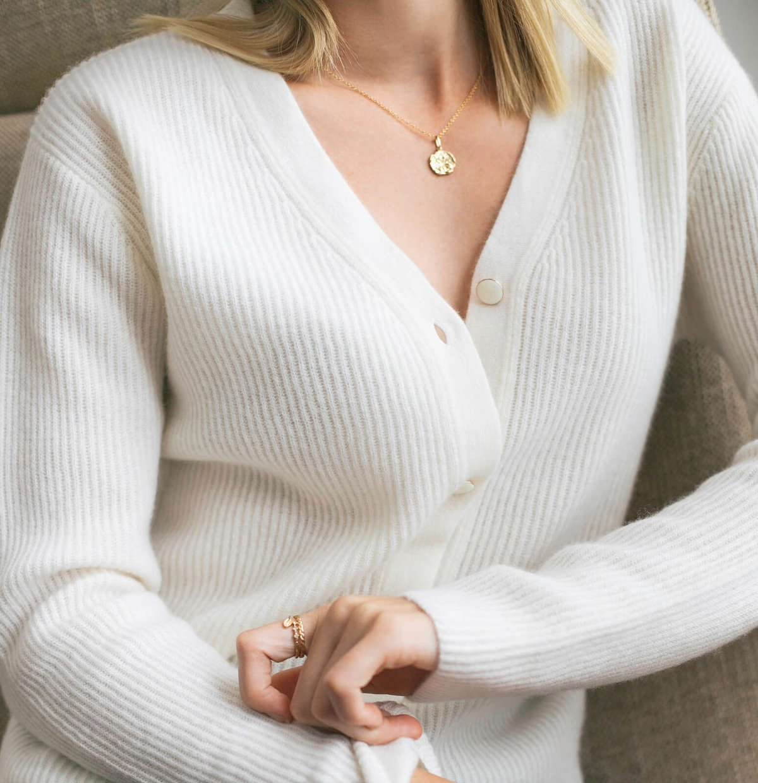 Valentina Cashmere Cardigan - Natural White