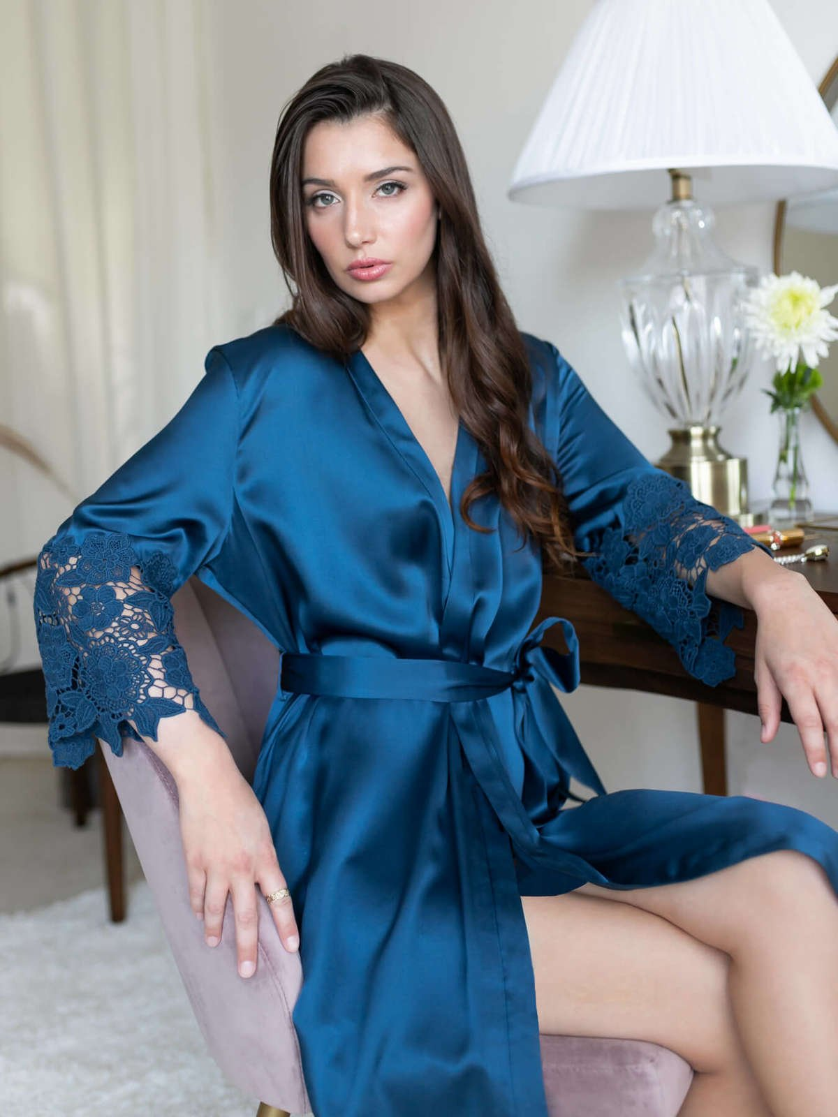 Chantella Silk Robe with Lace - Midnight Navy