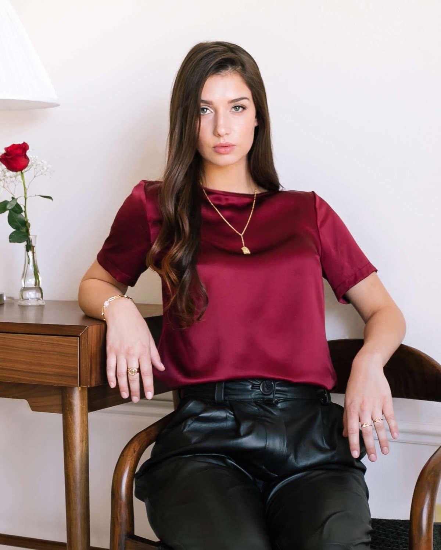 Emilia Silk Blouse - Burgundy Red