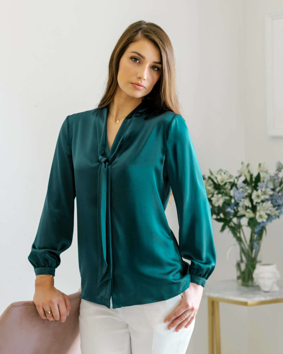 Vinci Silk Bow Blouse - Emerald Green