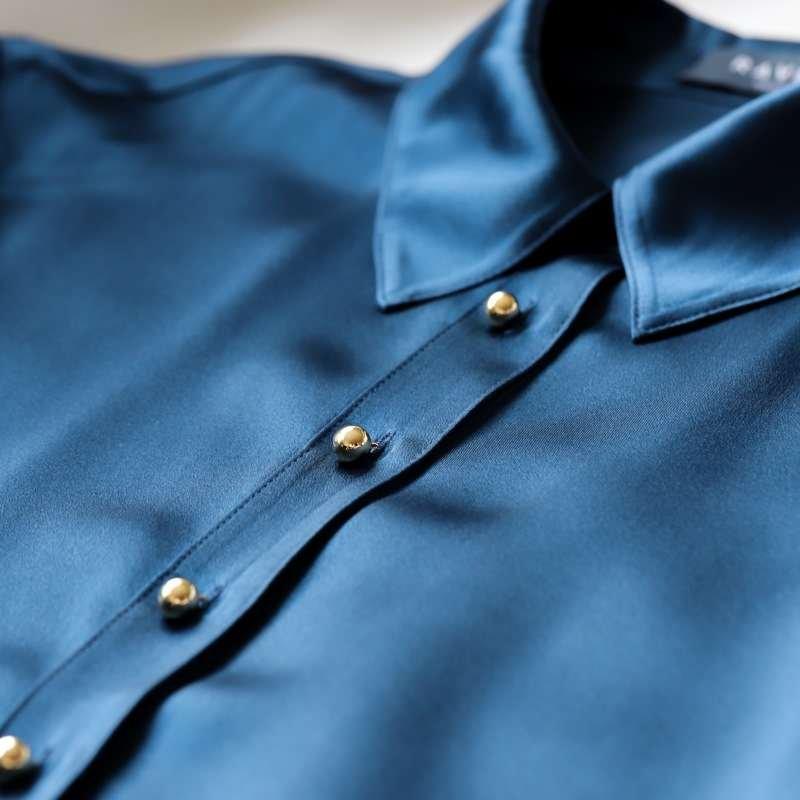Ravella Silk Blouse - Midnight Navy - Fabric Detail