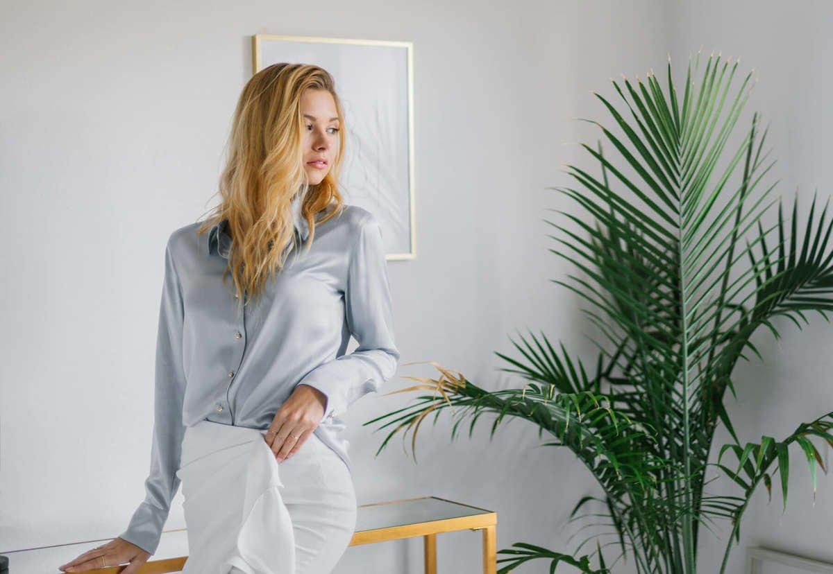 Milano Silk Blouse - Platinum Grey