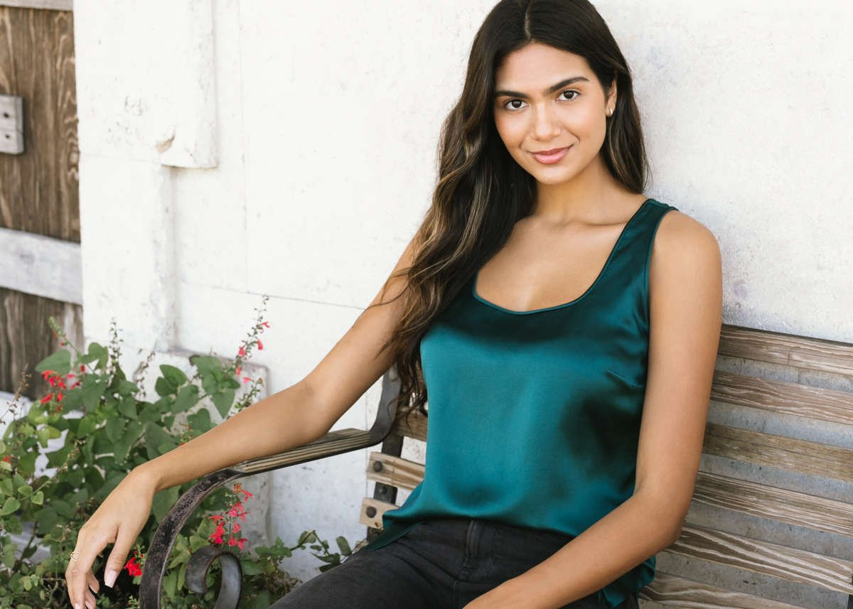 Fiora Silk Tank - Emerald Green