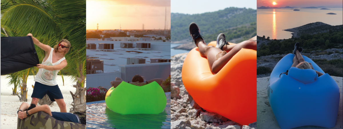 Chillbean Air lounger on the beach and camping