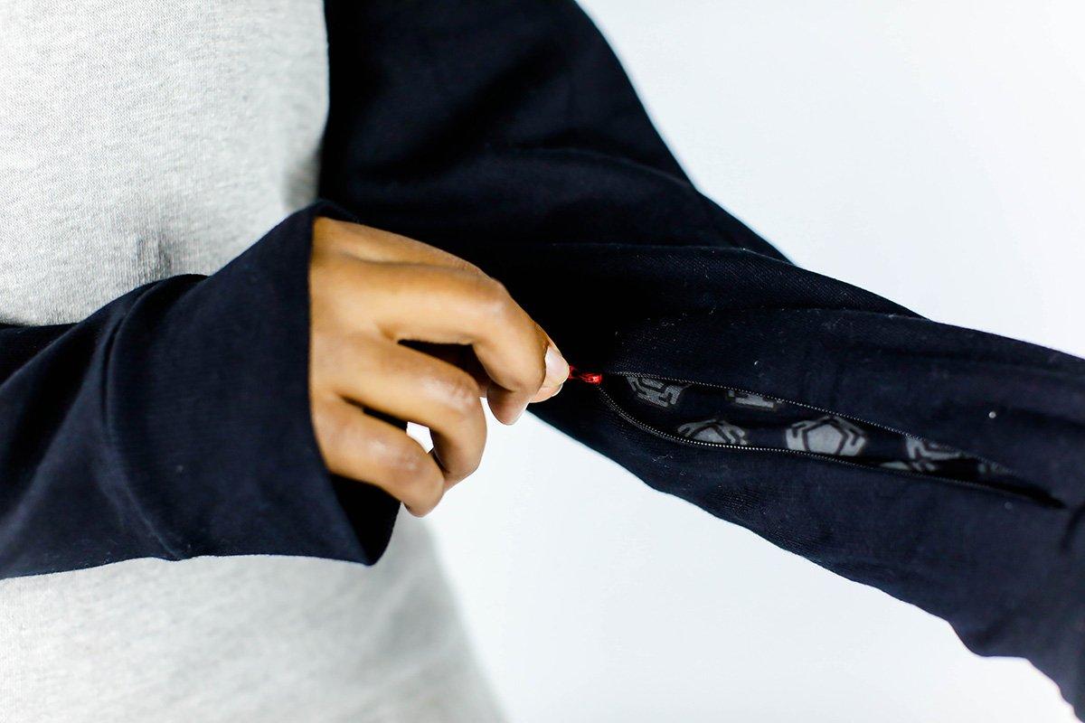 The drop hem on the SKCxLBF box logo hoodie