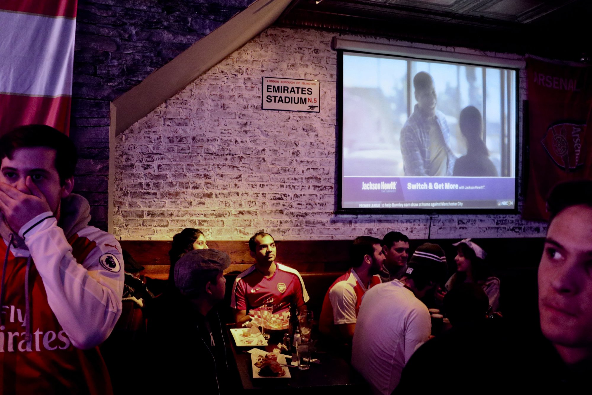 Arsenal fans catching the game at the Blind Pig