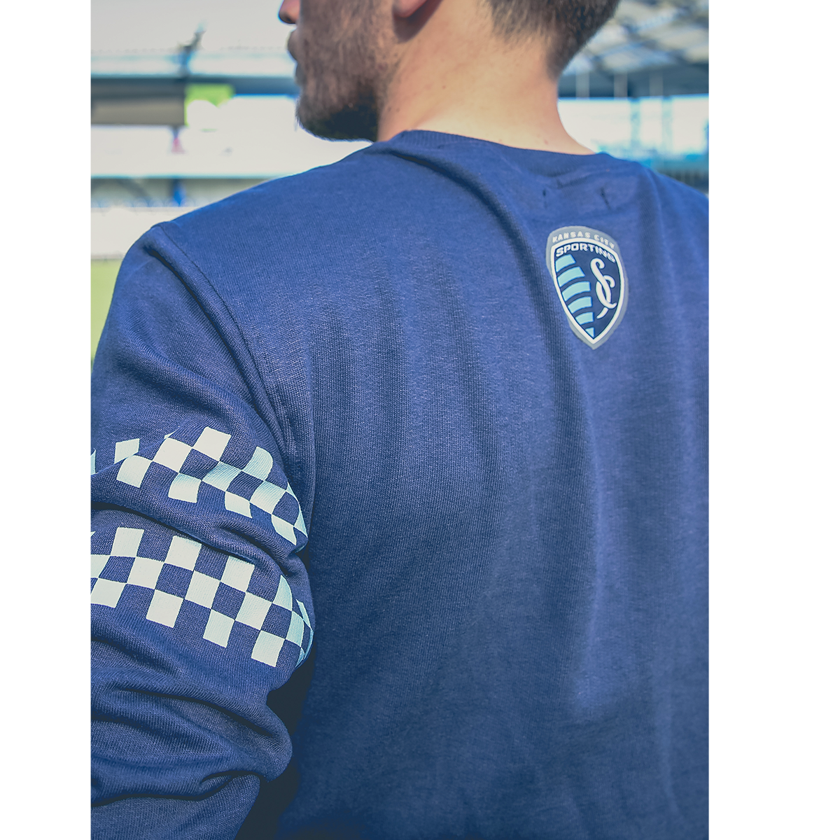Racing stripes for the navy sweatshirt for SKCxLBF