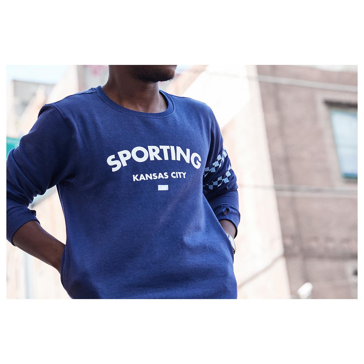 Classic typeface on the navy sweatshirt for SKCxLBF