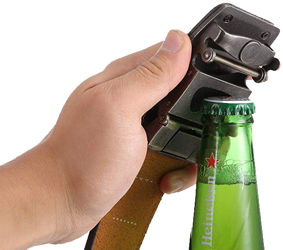 A belt with a beer bottle opener buckle
